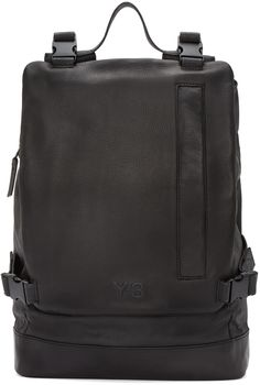 Y-3: Black Leather Toile Backpack | SSENSE