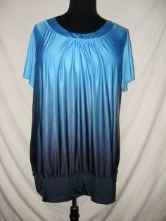 190d221ce9350 Fashion Bug Womens Plus Size 3X Shirt Blue Black Silver Embroidered Lace  Back M  FashionBug