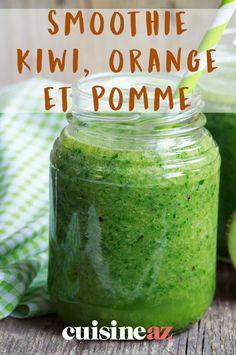 Smoothie kiwi, orange et pomme Smoothie Fruit, Avocado Smoothie, Smoothies, Orange, Pickles, Cucumber, Food, Apples, Recipes