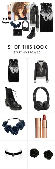"""""""Outfit"""" by gabymyredis ❤ liked on Polyvore featuring IRO, Madden Girl, Beats by Dr. Dre, Charlotte Tilbury and Gucci"""