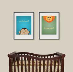 Digital Download Nursery Art Animals Peekaboo I by dotsonthewall