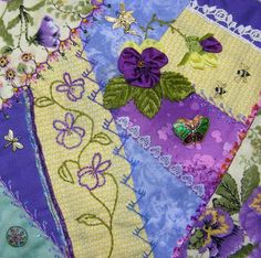 I ❤ crazy quilting, beading & embroidery . . . Krazy embroidery. LiveInternet - Russian Service Online Diaries (two of my favorites: the color purple and Pansies!)