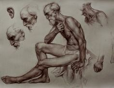 Colleen Barry: Study for St. Jerome, Sanguine on paper, 32x18 in, 2012- 2013. This study focuses on the use of mood, created through posture and facial expression that is studied in the drawing above. Barry looked at the position of the head, and shoulders to examine expression. She carries this study on with looking at the placement of hands, and hair to create her final study in drawing.