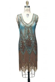 The Charleston Turquoise Gold : Beaded Style Gowns, Art Deco Gowns, Flapper Fringe Dresses, Vintage Daywear, Hollywood Reproductions. from LeLuxe Clothing Flapper Style Dresses, Fringe Flapper Dress, 20s Dresses, 1920s Dress, Dresses Art, Formal Dresses, 20s Fashion, Art Deco Fashion, Fashion History