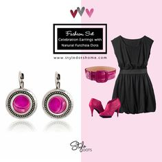 Celebration Earrings with Natural Fuchsia Dots || Interchangeable, customizable snap jewelries & accessories #styledots