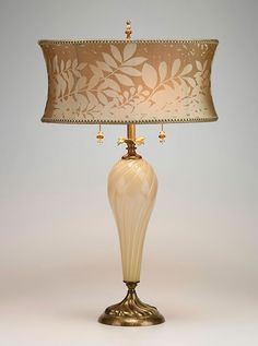 Kenzig Lauren Table Lamp: Creamy colored hand blown glass, with a latte and cream round shade, copper and brass accents, hand crafted signature finial and pull, double sockets ~ Decor, Home Design Decor, Lamp Light, I Love Lamp, Home Lighting, Lamp, Beautiful Lighting, Neutral Lamps, Lamp Shades