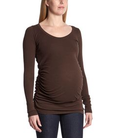 Look what I found on #zulily! Umber Ruched Maternity Top by LAmade #zulilyfinds