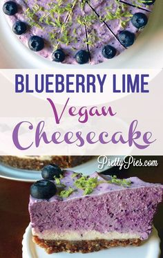 Blueberry Lime Cheesecake that is not only pretty, but good for you! Hundreds of… Blueberry Lime Cheesecake that is not Desserts Crus, Desserts Sains, Raw Desserts, Paleo Vegan, Vegan Cake, Vegan Baking, Paleo Dairy, Vegetarian, Best Vegan Recipes