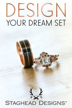 Visit our site to get started! Staghead Designs specializes in handcrafting custom wedding bands using unique & meaningful materials that you choose or even send in! Wooden Wedding Bands, Custom Wedding Rings, Wedding Jewelry, Vintage Style Engagement Rings, Dream Engagement Rings, Wedding Men, Dream Wedding, Damascus Wedding Band, Whiskey Barrel Wedding
