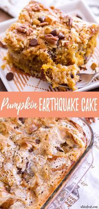 This Easy Pumpkin Earthquake Cake Is One Of The Best Fall Dessert Recipes Doctored Up Cake Mix Is Swirled With A Cream Cheese Filling, Making A Rich, Gooey Pumpkin Cake Thats 100 Over-The-Top And Downright Delicious. Thanksgiving Desserts Easy, Fall Dessert Recipes, Just Desserts, Fall Recipes, Health Desserts, Autumn Desserts, Thanksgiving Sides, Health Foods, Simple Recipes