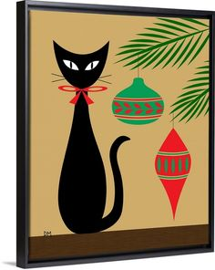 """A mid-century modern depiction of a black cat sitting next to ornaments on the Christmas tree - """"Holiday Cat"""" wall art by Donna Mibus from Great BIG Canvas"""