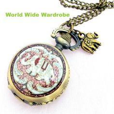 Pocket Watch 花ぞうさんアジアンアンティークペンダント懐中時計象ウオッチ白 Antique ¥2100yen 〆05月19日