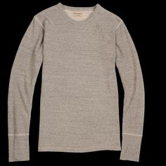 eab95166b8e UNIONMADE - Homespun Knitwear - Long Sleeve Thermal Tee in Mid Grey Modern  Mens Fashion