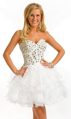 Short Strapless Sweetheart Babydoll Dress at PromGirl.com