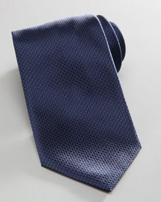Micro-Dot Silk Tie, Navy by Brioni at Neiman Marcus.