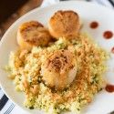 Tomorrow's dinner :-).                  Scallops with Spicy Curry Sauce and Couscous - Table for Two