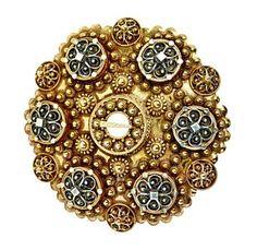 Henrik Lund (Norwegian 1879-1935), Bolesølje, Forgylt sølv. Filigransarbeid med kruser og demanter. 1900-tallet. Original eske. Antique Jewelry, Silver Jewelry, Vintage Jewelry, Handmade Jewelry, Bridal Crown, Norway, Wedding Jewelry, Art Nouveau, Bracelet Watch