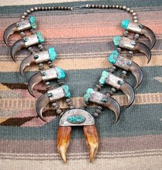 Item #759A- XLG Vintage Pre-1940's Navajo Bear Claw Turquoise Squashblossom Necklace