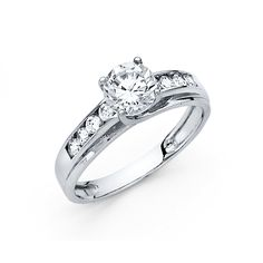 14K White Gold Wedding Engagement Ring - Size 9. Band Width : 2.5 mm. Center Stone : 1 carat. Excellent Grade Cubic Zirconia. Will be Shipped Today or Tomorrow. Promptly Packaged with Free Gift Box.