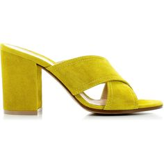Gianvito Rossi Yellow Crossed Sandals ($435) ❤ liked on Polyvore featuring shoes, sandals, yellow shoes, cross strap sandals, high heel shoes, yellow high heel shoes and gianvito rossi shoes
