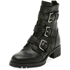 Prada Leather Buckle Combat Bootie ($950) ❤ liked on Polyvore featuring shoes, boots, ankle booties, black, black leather boots, black bootie, short black boots, leather bootie and black buckle booties