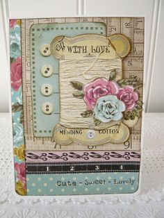't Scrap Ateljeetje: Kaisercraft Needle & Thread: 2 Bright Cards