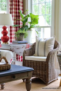 Savvy Southern Style: Stars and Stripes in the Sun Room -- love the curtains