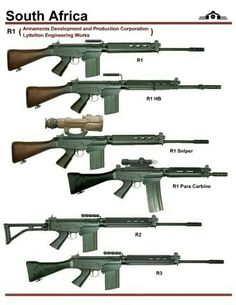 Africa has basically adopted the same rifle as a large number other states, the FN Fal. A or 308 battle rifle, a lot like a more modern