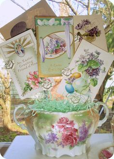 Vintage Easter postcards- good idea how to display all the Easter prints and post cards I pinned.