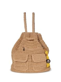Pack up for the day with our easy to carry crochet backpack, perfectly stylish for any age.