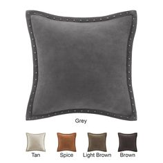 $40 - Madison Park Stud Trim Suede Feather Down Filled 20-inch Throw Pillow - Overstock™ Shopping - Great Deals on Madison Park Throw Pillows