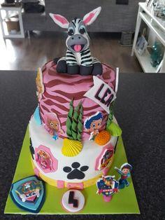Paw Patrol & Bubbel Guppies en een zebra☺ birthday cake