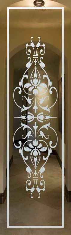 "San Soucie -- ""Bordeaux"" carved glass traditional glass design sandblasted glass"