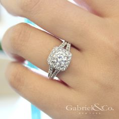 Gabriel & Co. - Voted #1 Most Preferred Bridal Brand. Such a delightful White Gold Round Halo Engagement Ring. #GabrielNY
