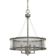 Add a handsome touch to your living room or entryway with this lovely steel chandelier, showcasing a graphite finish and a mesh shade.Product: ChandelierC...