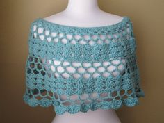 Aquamarine Cotton Crocheted Poncho. Crochet. by EuniceNeedlecraft