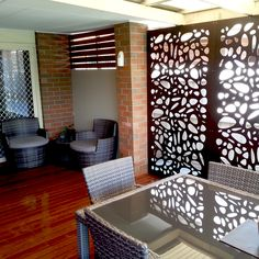 Cayman Design   75% Privacy/ Block out.   1200 mm(H) x 600 mm(W) Panels. 9 mm Thick. Robust & Hard wearing.  Available at Chippy's Outdoor