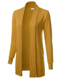 Womens Long Sleeve Open Front Drape Ribbed Cardigan with Pockets  fashion   clothing  shoes 84841210e