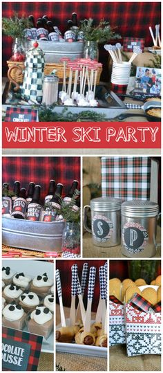 A New England apres-ski buffet with chili, macaroni and cheese, a hot chocolate bar and s'mores favors! See more party planning ideas at CatchMyParty.com!
