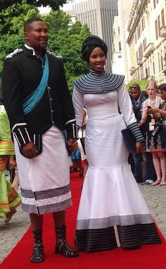 Mandla Mandela and wife South African Dresses, South African Fashion, African Wear Dresses, African Wedding Attire, African Attire, African Shop, African Women, African Traditional Wear, Traditional Outfits