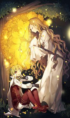 ✮ ANIME ART ✮ forest wanderer. . .traveler. . .anime boy. . .cape. . .elf. . .long hair. . .staff. . .roses. . .magical. . .fantasy. . .fairy tale. . .cute. . .kawaii