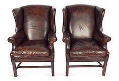 Leather   Wingbacks, Pair on OneKingsLane.com ~ beautiful, I love the tones in the leather.
