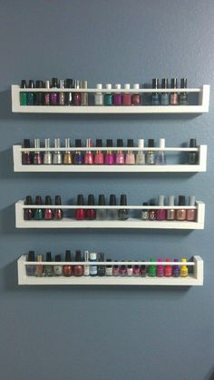 DIY Spice rack nail polish holder. Made with 1x3's,  dowel rods, and a little wood glue. {Would also be good for a spice rack or for in the bathroom for more storage~mrm}