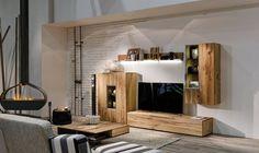 Wohnwand und Couchtisch von Voglauer, Modell V-Alpin Holz, Hängevitrine, TV-Unterteil, Wandregal, Highboard