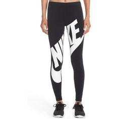 Nike 'Leg-A-See' Exploded Logo Leggings ($45) ❤ liked on Polyvore featuring pants, leggings, swimming leggings, nike leggings, white trousers, white pants and swim pants