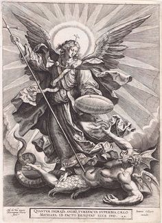 Recto St Michael triumphing over the dragon; St Michael, holding a cross-ended spear and a shield, seen standing and transfixing a monstrous creature, with breasts, wings and a dragon tail. Engraving © The Trustees of the British Museum St. Michael Tattoo, Archangel Michael Tattoo, Catholic Art, Religious Art, St Micheal, Religious Tattoos, Biblical Art, Angels And Demons, Art Graphique
