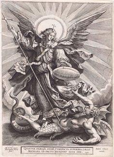 Hieronymus Wierix, Archangel Michael Slaying the Dragon 1585 Archangel Tattoo, Warrior Angel, Catholic Art, Religious Art, Sleeve Tattoos, Body Art Tattoos, St Micheal, St Michael Tattoo, Rara Avis
