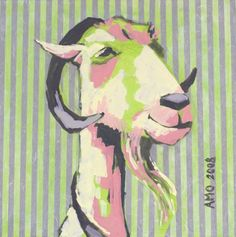 AnnMarie O'Dowd painting - arthur-the-goat  #goatvet collects art which feature goats