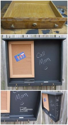 Upcycled Furniture Projects - Desk Drawer Repurposed Into Chalkboard - Repurposed Home Decor and Furniture You Can Make On a Budget. Easy Vintage and Rustic Looks for Bedroom, Bath, Kitchen and Living Room. http://diyjoy.com/upcycled-furniture-projects