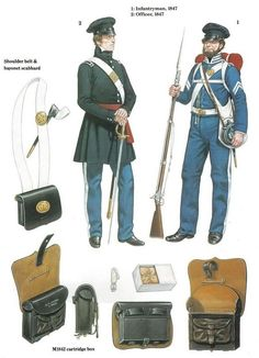 Mexican War Era - Infantry Lieutenant and Infantry Corporal in Field Uniforms and Equipment. Mexican Army, Mexican American War, American Civil War, American History, American Uniform, Native American Models, Texas Revolution, Army Uniform, Military Uniforms